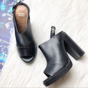 Zara chunky heel peep toe slingback mules
